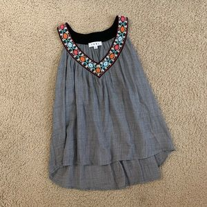 THML Embroidered Neckline Tank Top